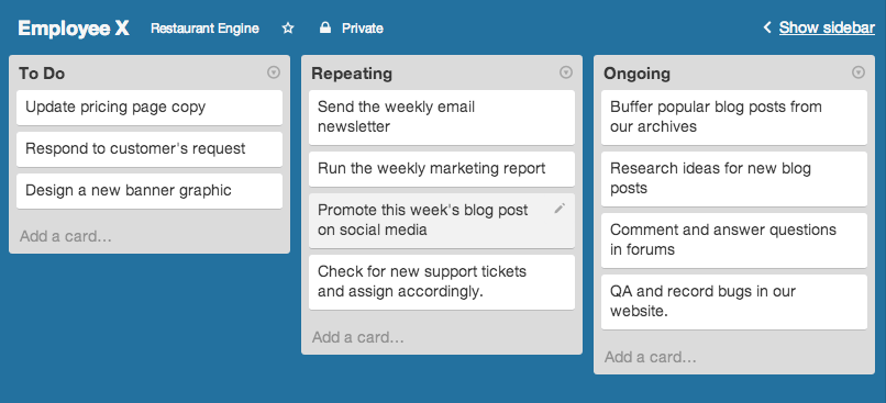 Example Trello board to organize an employee's workload.
